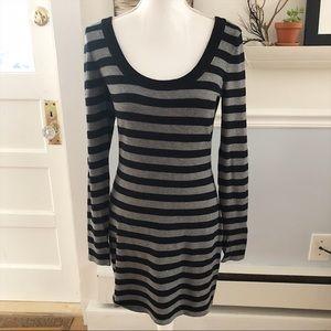 Express Horizontal Stripe Long Sleeve Dress